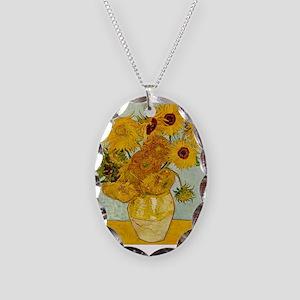 Vincent Van Gogh Sunflower Pai Necklace Oval Charm