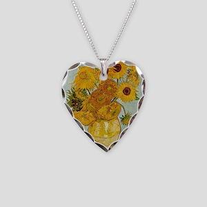 Vincent Van Gogh Sunflower Pa Necklace Heart Charm