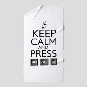 Keep Calm and press control Alt funny Beach Towel