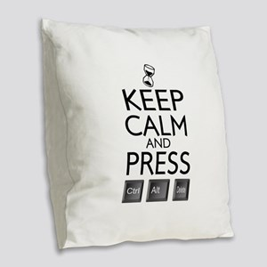 Keep Calm and press control Alt funny Burlap Throw