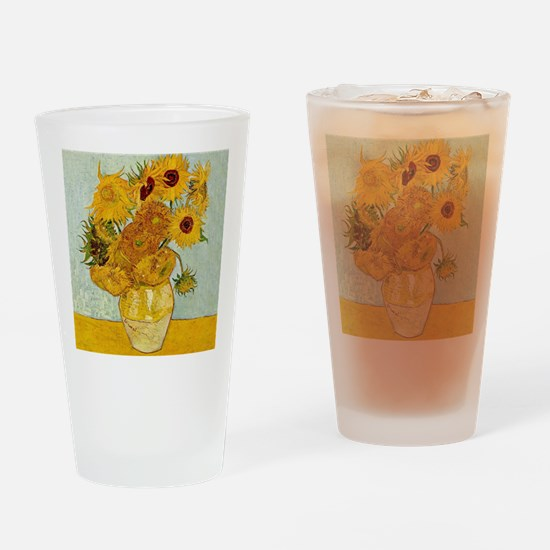 Vincent Van Gogh Sunflower Painting Drinking Glass
