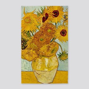 Vincent Van Gogh Sunflower Painting Area Rug
