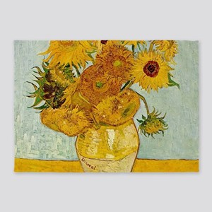 Vincent Van Gogh Sunflower Painting 5'x7'Area Rug