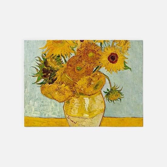 Vincent Van Gogh Sunflower Painting 5'x7'Area Rug