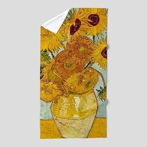 Vincent Van Gogh Sunflower Painting Beach Towel