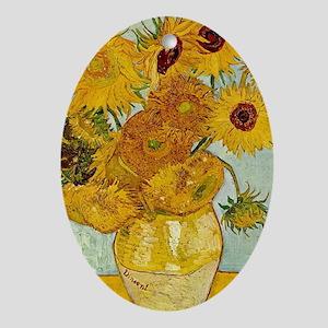 Vincent Van Gogh Sunflower Painting Oval Ornament
