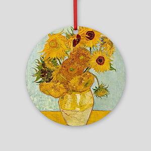 Vincent Van Gogh Sunflower Painting Round Ornament