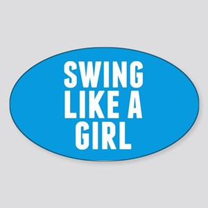Softball Girl Sticker (Oval)