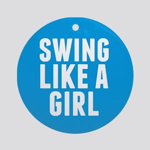 Softball Girl Round Ornament