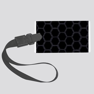 bucket A blk hexagons on blk feathers Luggage Tag