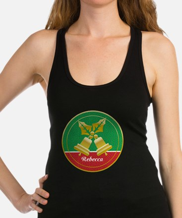 Personalized golden holly and Xmas bells Racerback