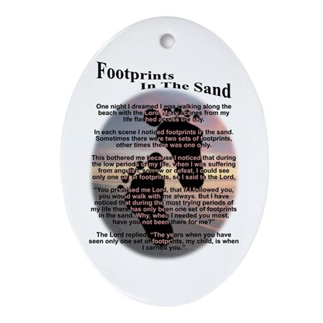 Foot Prints In The Sand Oval Ornament