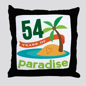54th Anniversary Paradise Throw Pillow