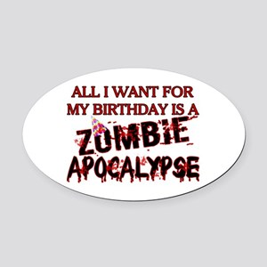 Birthday Zombie Apocalypse Oval Car Magnet
