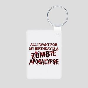 Birthday Zombie Apocalypse Aluminum Photo Keychain