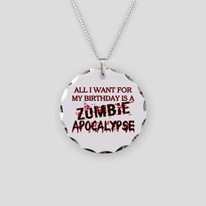 Birthday Zombie Apocalypse Necklace Circle Charm