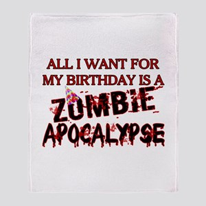 Birthday Zombie Apocalypse Throw Blanket