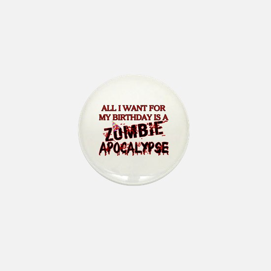 Birthday Zombie Apocalypse Mini Button