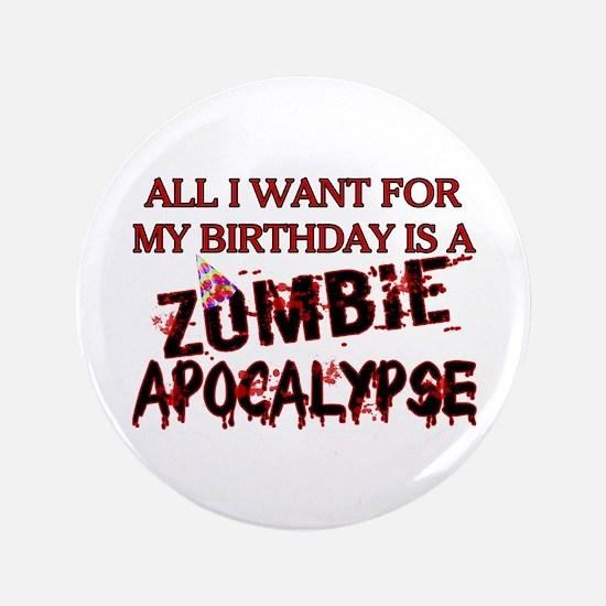"Birthday Zombie Apocalypse 3.5"" Button (100 pack)"