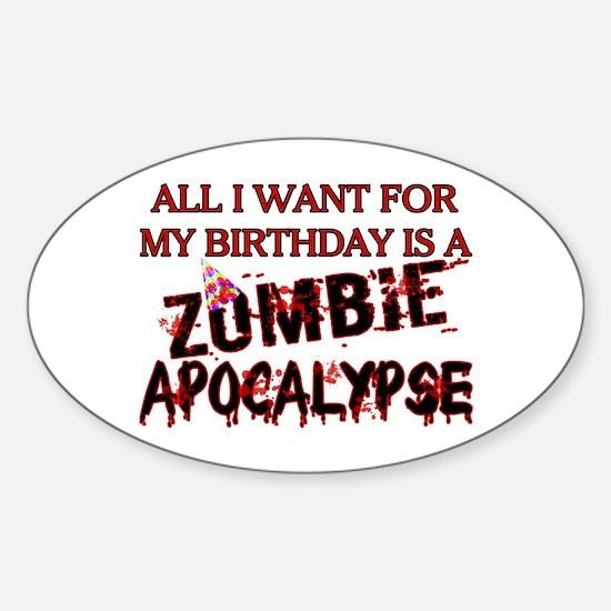 Birthday Zombie Apocalypse Sticker (Oval)