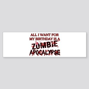 Birthday Zombie Apocalypse Sticker (Bumper)