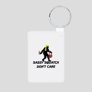 Sassy Squatch Don't Care Aluminum Photo Keychain