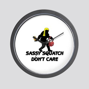 Sassy Squatch Don't Care Wall Clock