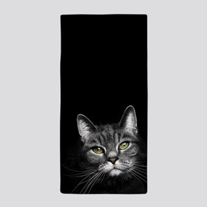 Curious Tabby Beach Towel