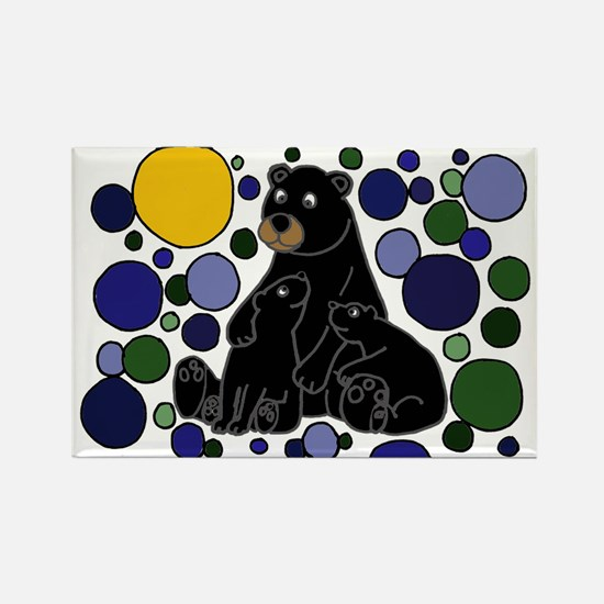 Black Bears and Cubs Art Rectangle Magnet
