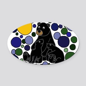 Black Bears and Cubs Art Oval Car Magnet