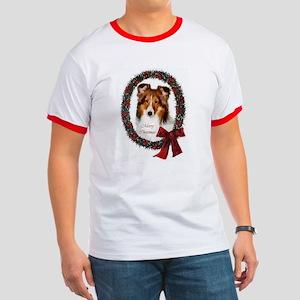 Shetland Sheepdog Christmas Ringer T
