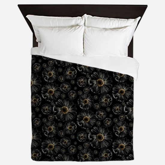 Gothic Black Daisy Pattern Queen Duvet