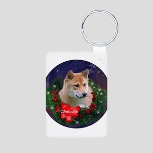 Shiba Inu Christmas Aluminum Photo Keychain