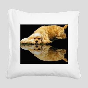 Cocker Reflection Square Canvas Pillow