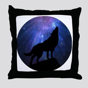Celestial Wolf Round Throw Pillow