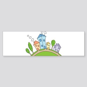 Cartoon Houses Bumper Sticker
