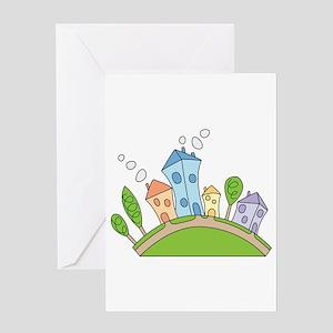 Cartoon Houses Greeting Card
