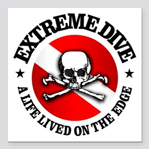 "Extreme Dive (Skull) Square Car Magnet 3"" x 3"""