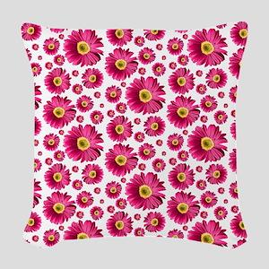 Fuchsia Pop Daisy Pattern Woven Throw Pillow