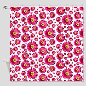 Fuchsia Pop Daisy Pattern Shower Curtain