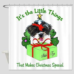 Shih Tzu Christmas Shower Curtain