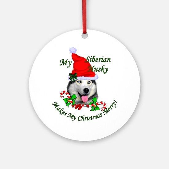 Siberian Husky Christmas Round Ornament