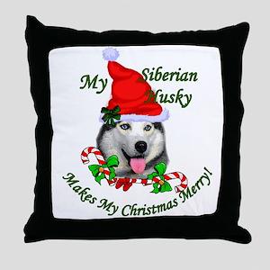 Siberian Husky Christmas Throw Pillow