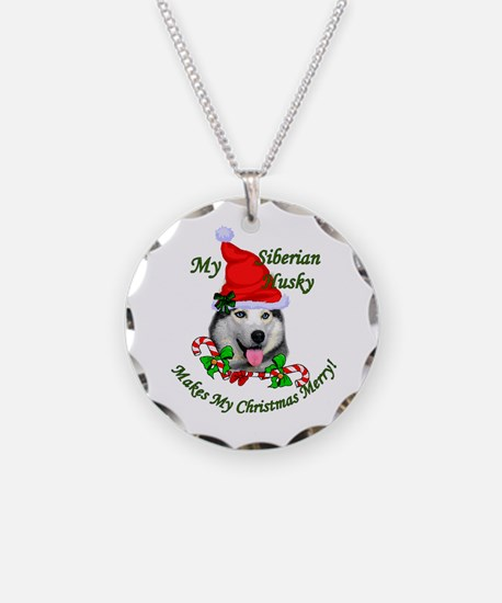 Siberian Husky Christmas Necklace