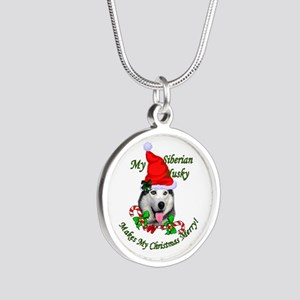 Siberian Husky Christmas Silver Round Necklace