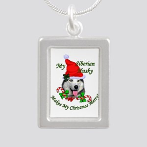 Siberian Husky Christmas Silver Portrait Necklace