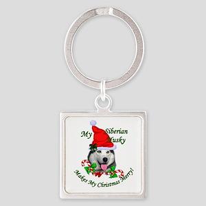 Siberian Husky Christmas Square Keychain