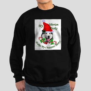 Siberian Husky Christmas Sweatshirt (dark)