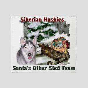 Siberian Husky Christmas Throw Blanket