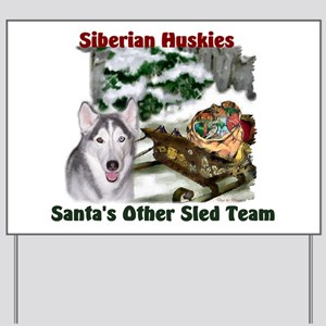 Siberian Husky Christmas Yard Sign